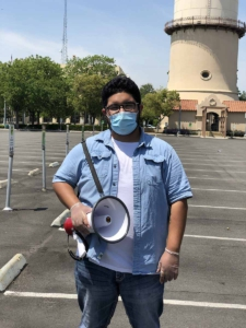 Organizer with bullhorn, Fresno, Ca. Liberation photo.
