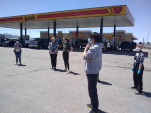 Protesters gather at truck stop in Cedar City, Utah. Liberation photo.